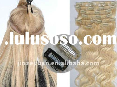 top quality 18'' indian clip in human hair extension