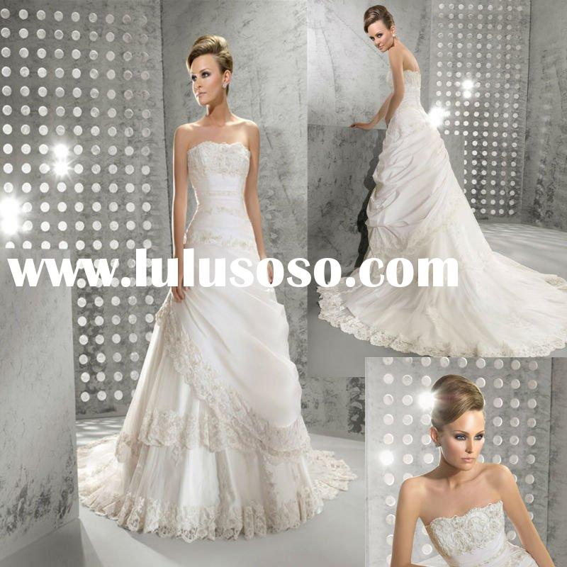 2012 Fanstic Europe Lace Taffeta  A-line  wedding  dress