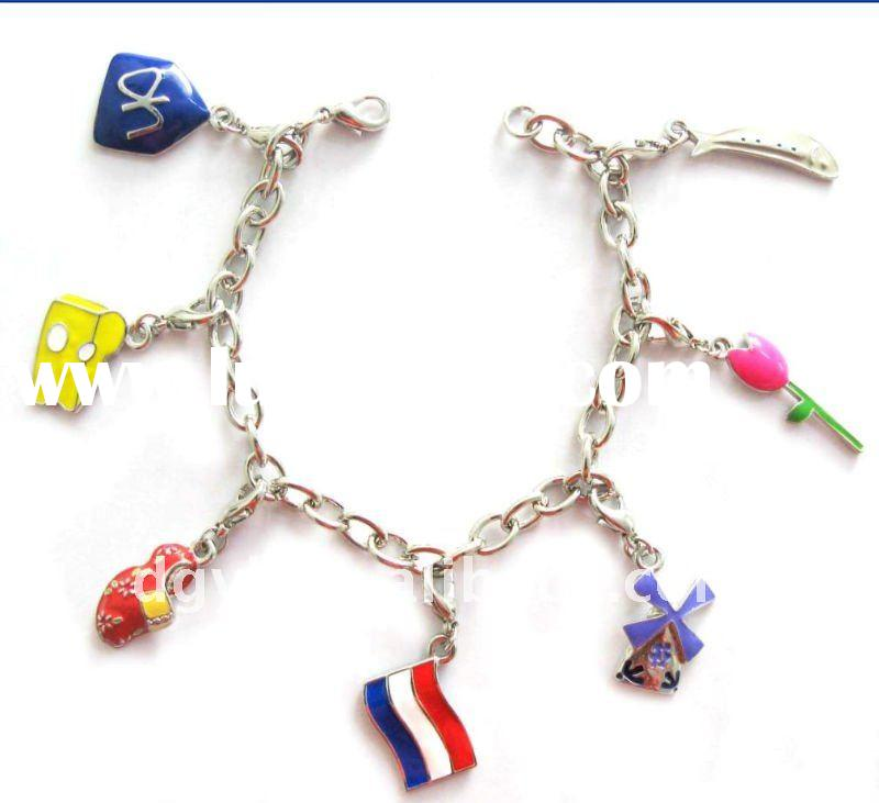 Fashion Accessories Zinc Alloy Bracelet With Shoes Flowers Flags