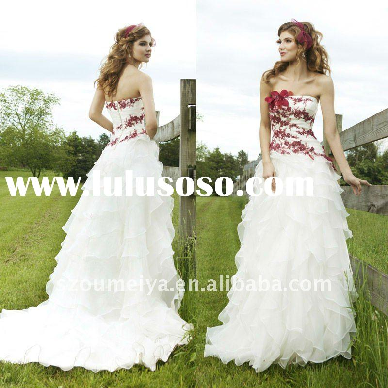 ONW8 Angel Lace Applique Cascading Ruffles Red and White Wedding Dresses 2012
