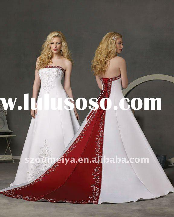 OUMEIYA ONW3 A line Strapless Red and White Embroidery Wedding Dresses