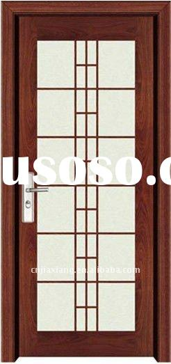 Simple flush solid wood glass door design