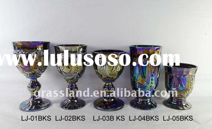 black pressed drinking glass with luster ,various colors