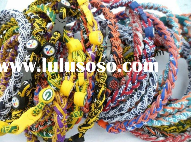 fabric&silicone 3 ropes braided titanium necklace,Sport/Germanium necklaces,free shipping,high q