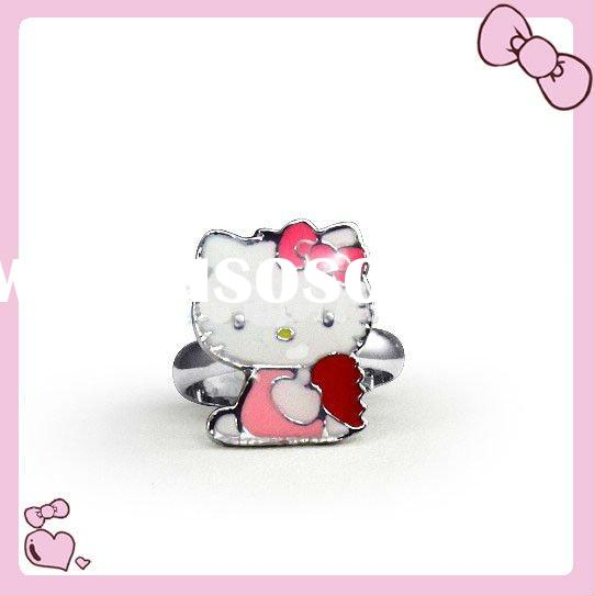 wholesale polychrome bowknot hot sale hello kitty rings