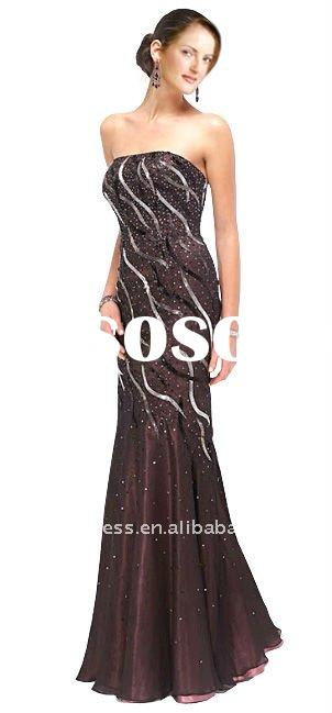 Strapless Beads Dotted Mermaid Prom Gown POD41