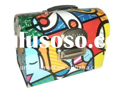 Tin lunch box with metal lock and plastic handle rectangle shape T-20077
