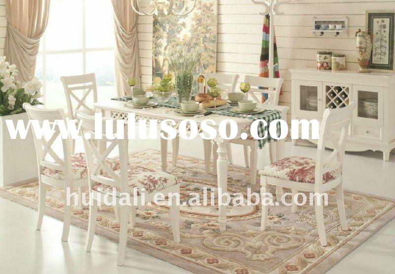 european ivory white wooden dining table and chair