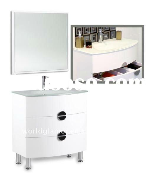 Bertch high gloss white lacquered floor mounted vanity cabinet with glass basin C800-TY