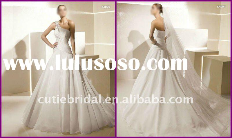 2012 New Simple One Shoulder Chiffon Bride Wedding Dresses 111485