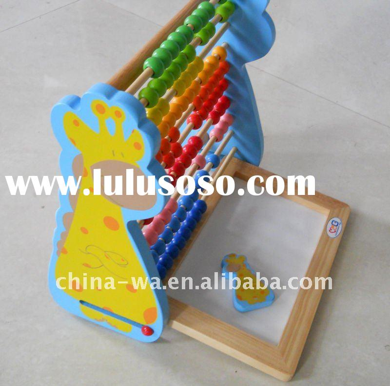 2012 new wood learning giraffe abacus with drawing board for children