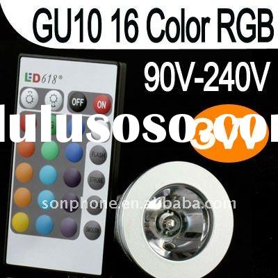 3W 16 Colors RGB LED Light Bulb GU10 with Remote Control LED RGB spotlight free shipping