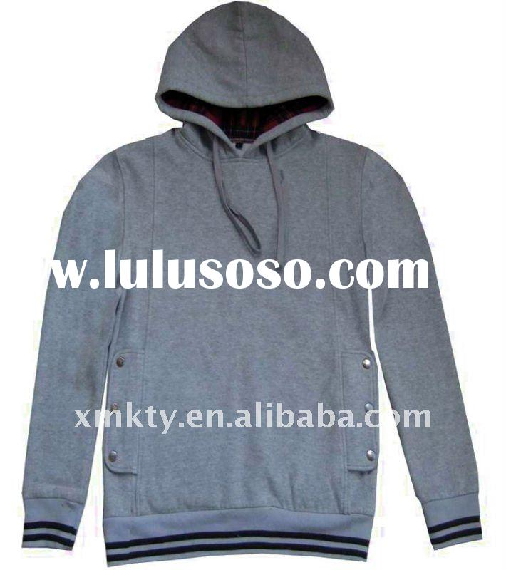 Mens Cotton Plain Fitted Hoodie