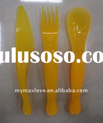 cute promotion Baby infant feeding spoon fork and knife sets/gift sets