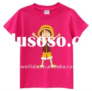 2011Hot-selling Q-version Cartoon Printed Luffy O-neck  t shirt with 100% Cotton