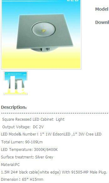 LED-Strip Square Recessed LED Cabinet Light