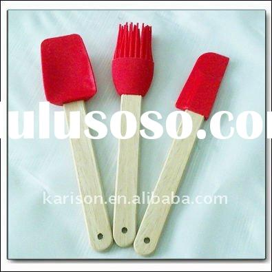 Mini wooden handle silicone kitchen utensil sets