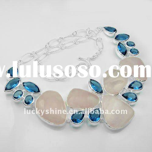 design a necklace in China 925 silver pink topaz gemstone wedding jewelry