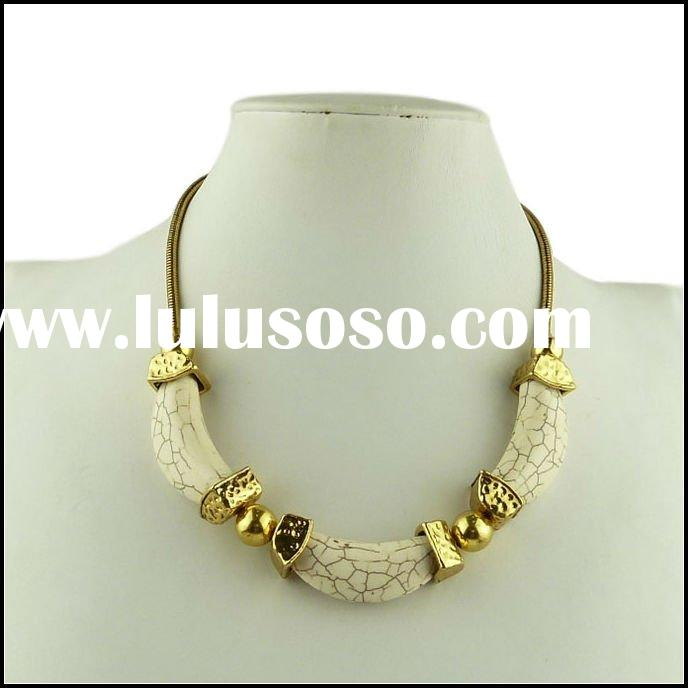 2012 New Arrivals Wholesale Fashion White Turquoise Antique Gold Alloy Necklace, Fine Stone Jewelry