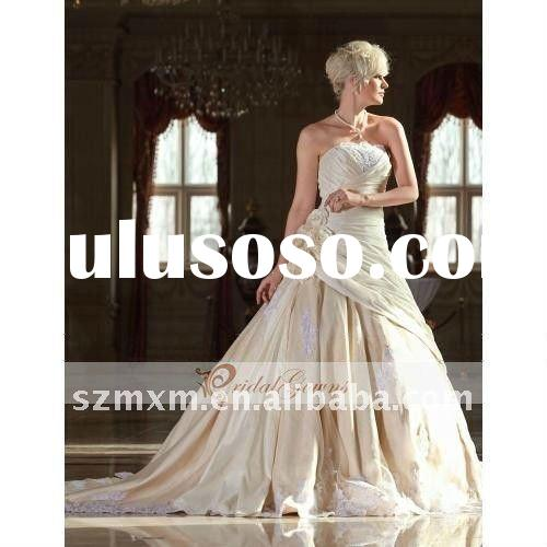 2012 High Quality Best Seller A-line Strapless Cathedral Train Taffeta Customed Made Champagne Weddi