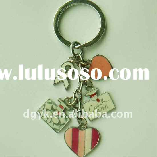 Fashion Heart Shaped Metal Keyring With Enamel Craft