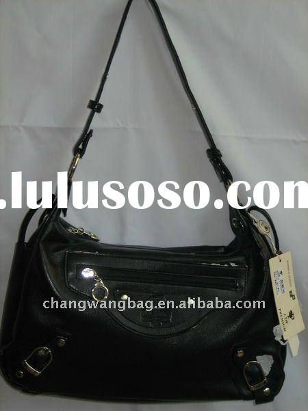 china latest fashion black lady handbag with low price
