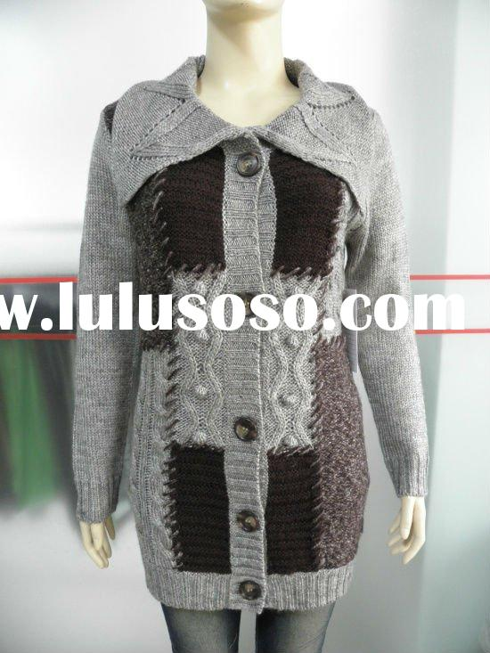 2012 ladies big Polo neck l/s cardigan sweater with button