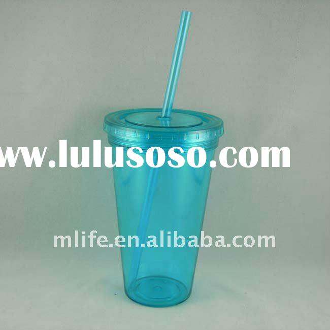450ml/16oz bpa free AS double wall plastic cup with straw
