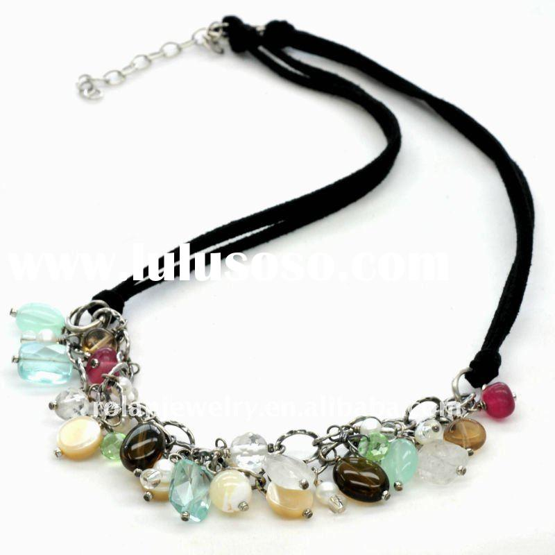 RL10N199 shell/faceted glass/tigereye necklace decorate
