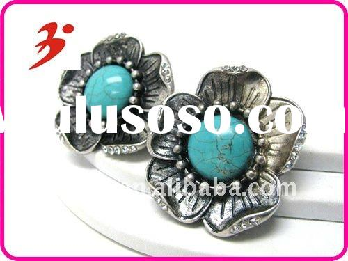 Yiwu alloy silver turquoise center and crystal deco metal flower clip earrings (E100700)
