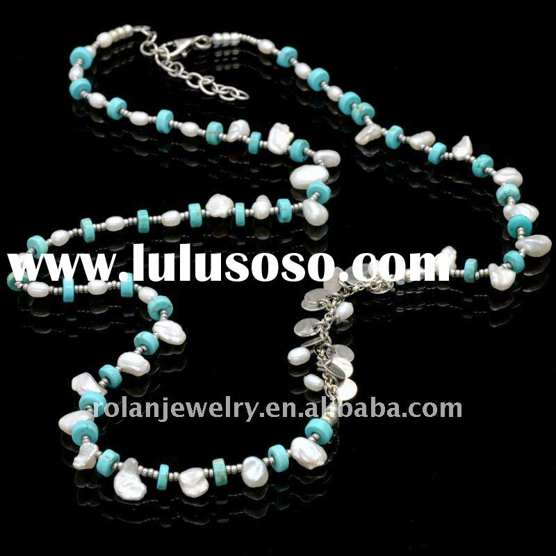 gem beads with silver  necklace, loose pearl,turquoise
