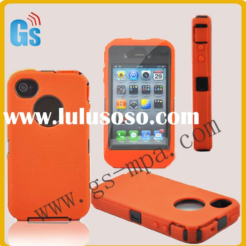 For Iphone Case 4 4s Silicone Detachable Armor Orange