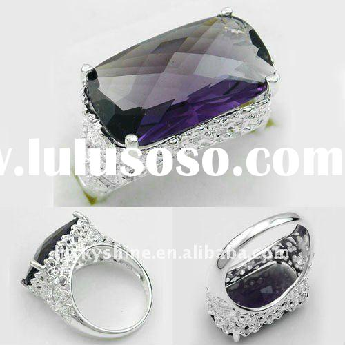 fashion amethyst stone 925 silver silver wedding bands