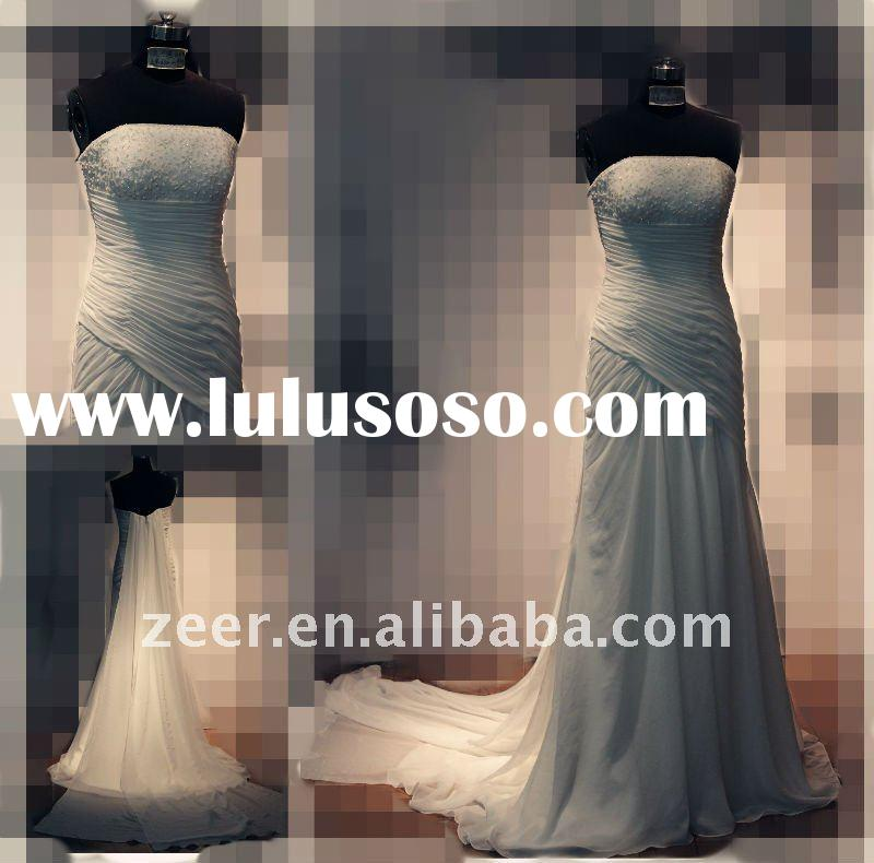 Real sample beach wedding dress/Factory make mermaid strapless long tail chiffon beach bridal gown D