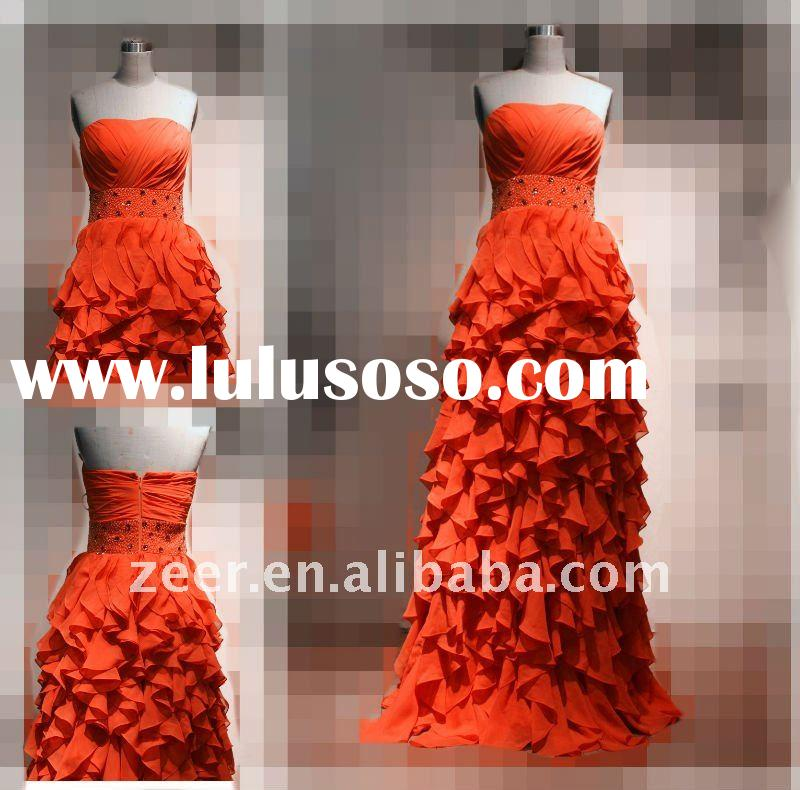 Real sample chiffon prom dress/Factory make empire beads sash orange chiffon ruffles prom dres gown