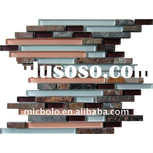 Red Slate Stone and Crystal Glass mosaic tile