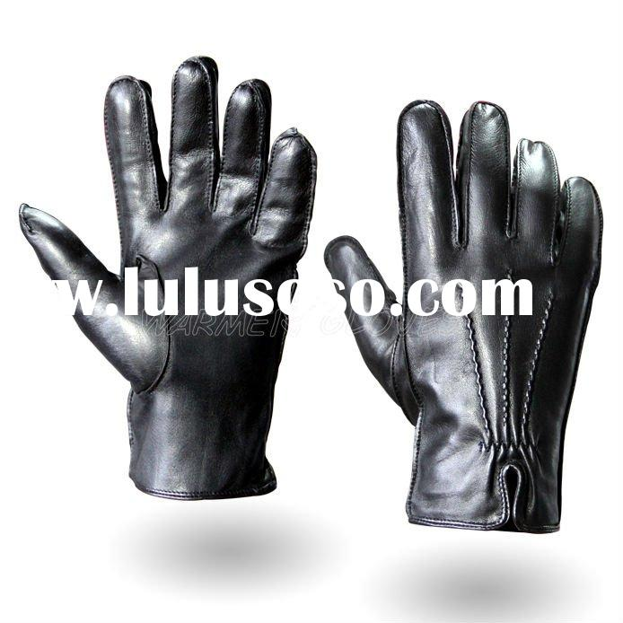 2012 Men's fashion leather glove Black (M014WC)