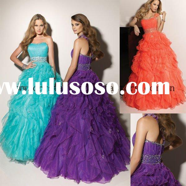 2012 ruffled beaded one shoulder ruched appliqued custom-made ball gown with jacket CWFab3612