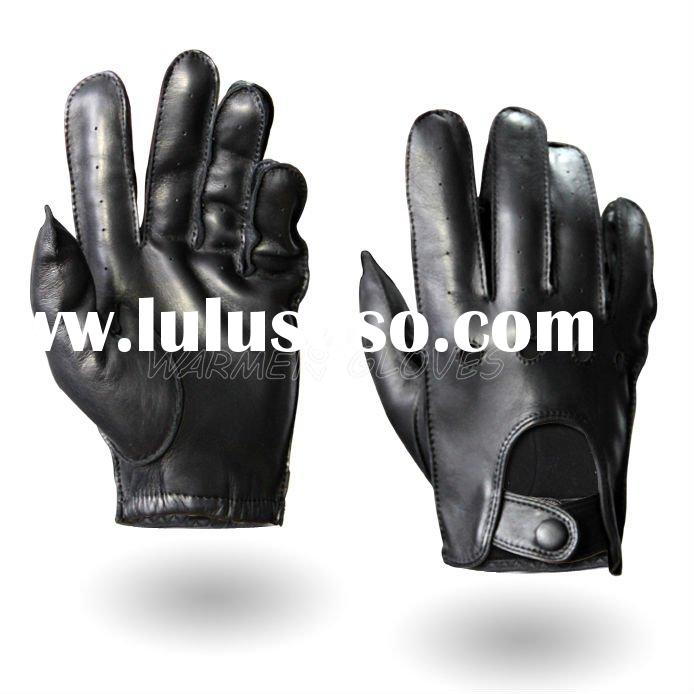 Mens Fashion style leather gloves motorcycle black (M018W)