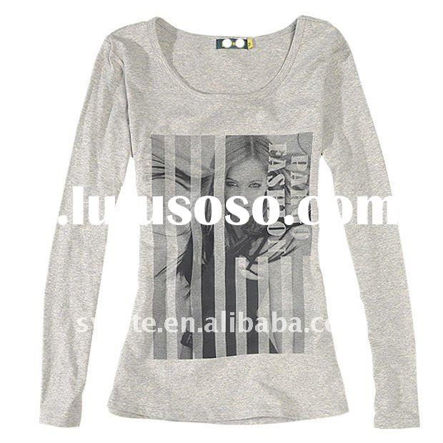 Women's printde round-collar long-sleeved T-shirt