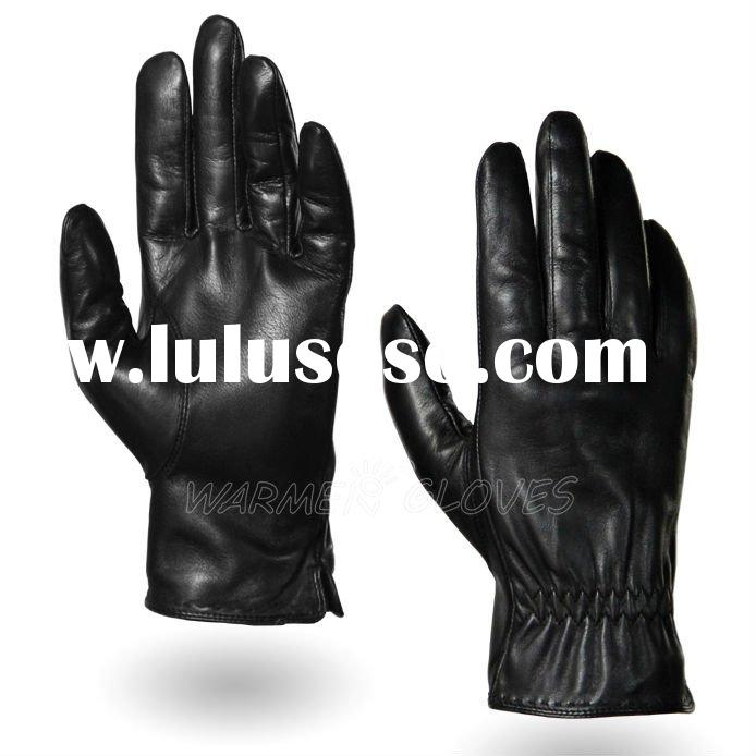 2012 Men's Cycling Motorcycle Leather Gloves Black (M011PN))
