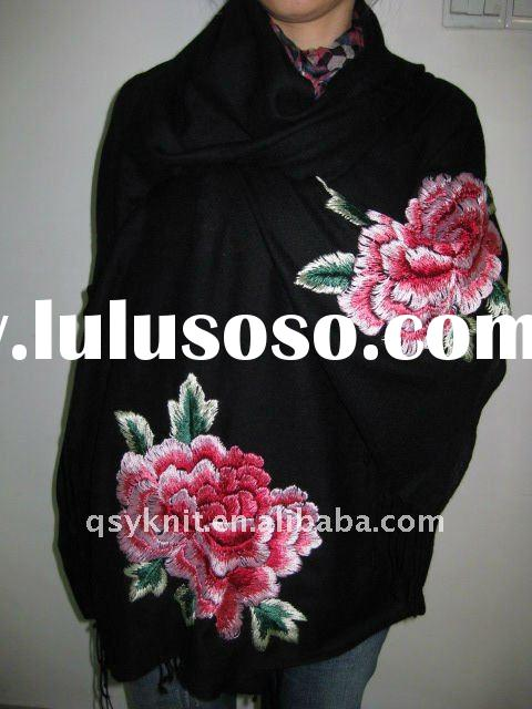 women embroidered peony fashion scarf