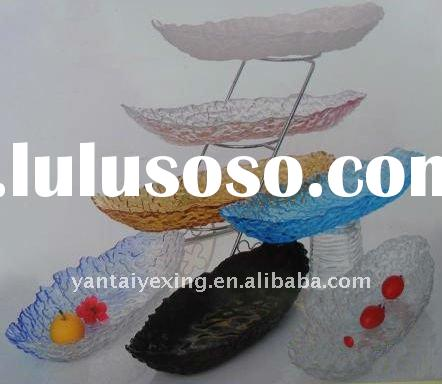 Free-form different color glass fruit bowl in vessel design