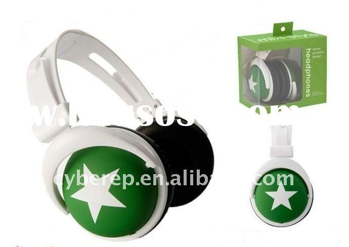 colorful fashion design stereo headphones with star