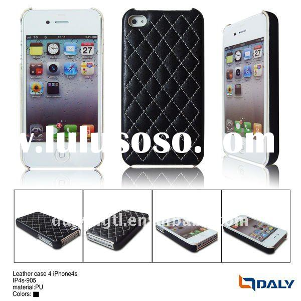 sewing sequence Lozenge grain pu leather case for i phone4s
