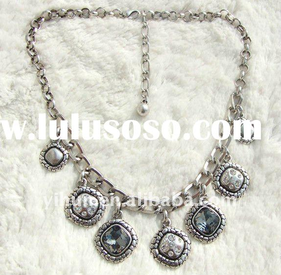 Antique Silver Necklace, alloy jewelry