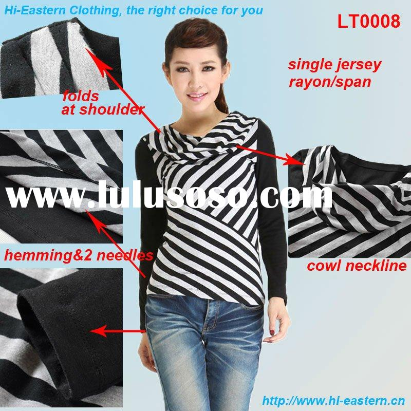Cowl neckline with Black/White stripes at front and solid at back for fashion ladies top
