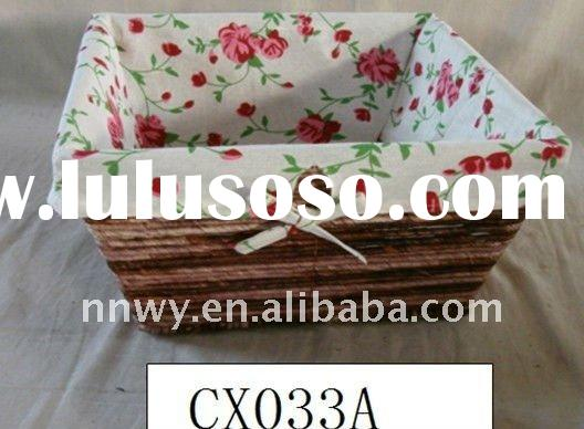 Eco-friendly handmade square straw red storage basket
