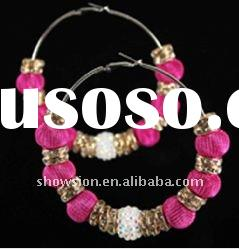 Fashion colorful beaded large hoop earring