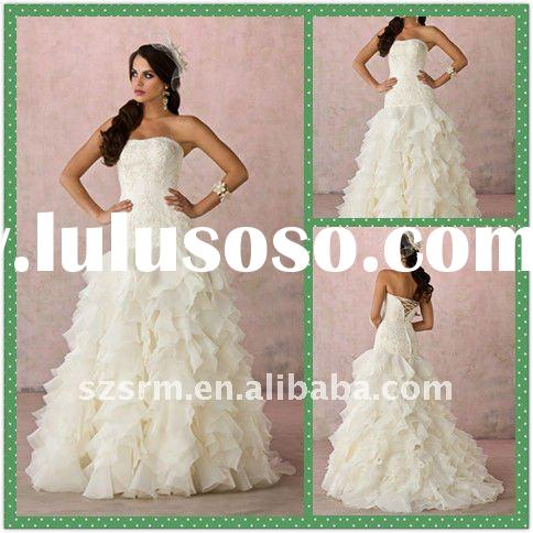 Modern A-line Strapless White Applique Corset Top Wedding Dresses 2012